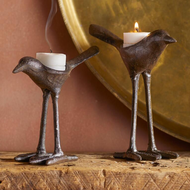 IRON BIRD CANDLEHOLDERS, SET OF 2
