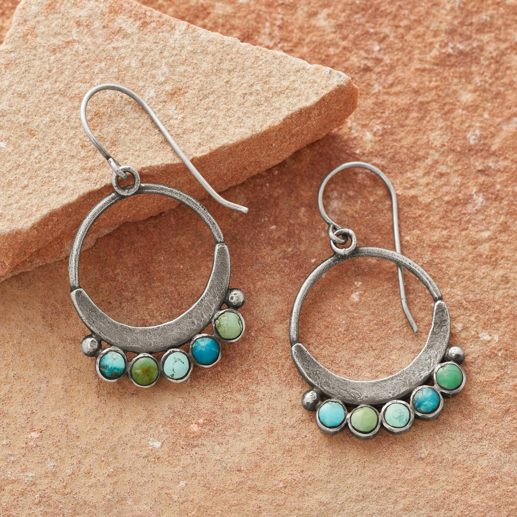 SHADES OF TURQUOISE HOOP EARRINGS: View 1