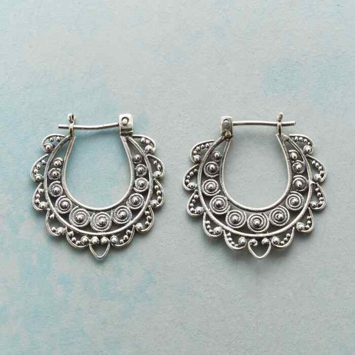 LACED STERLING HOOPS