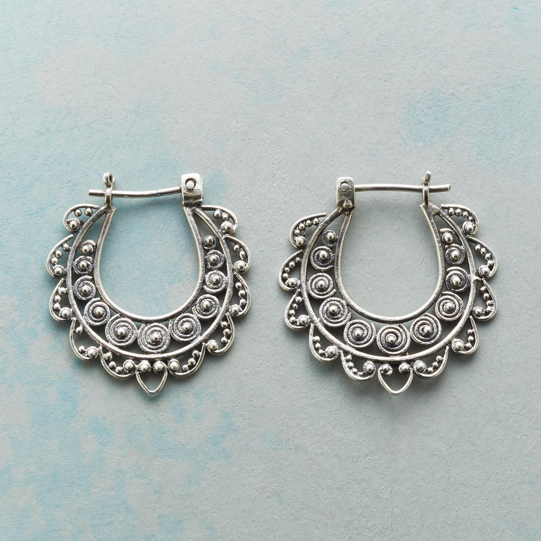 LACED STERLING HOOPS: View 1