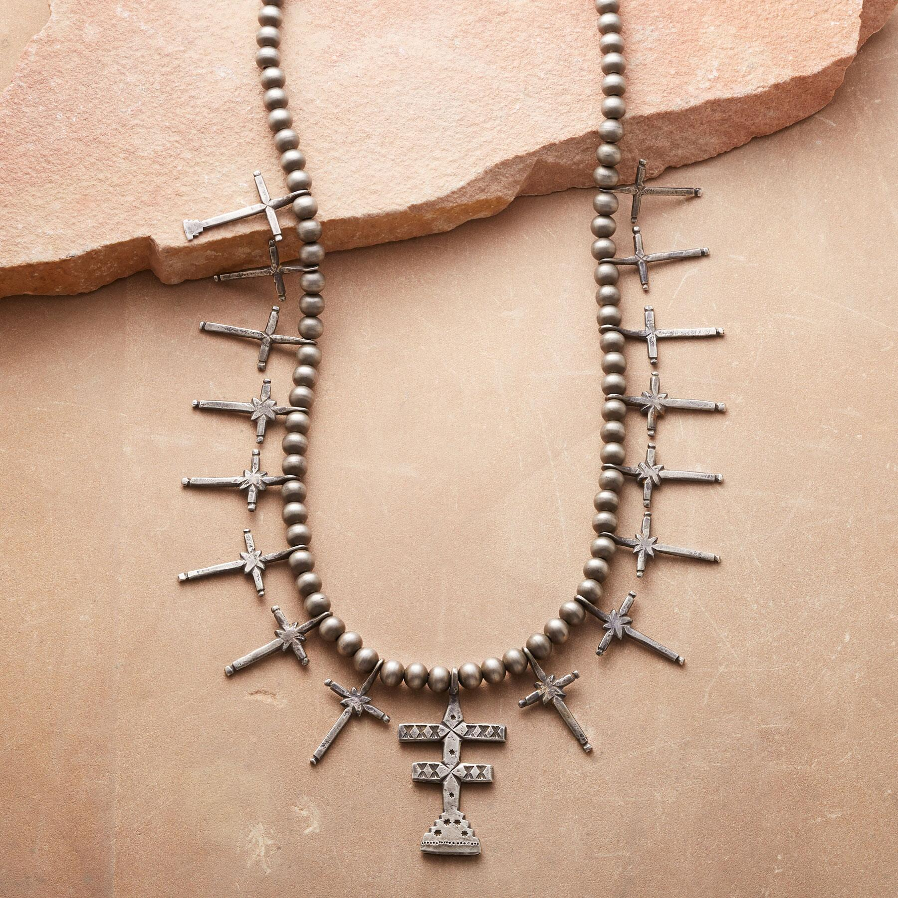 PUEBLO DOUBLE CROSS NECKLACE: View 1