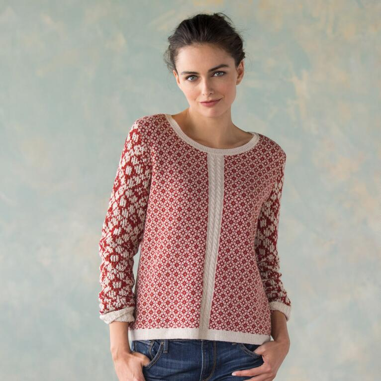 MIXED GAGUE JACQUARED PULLOVER