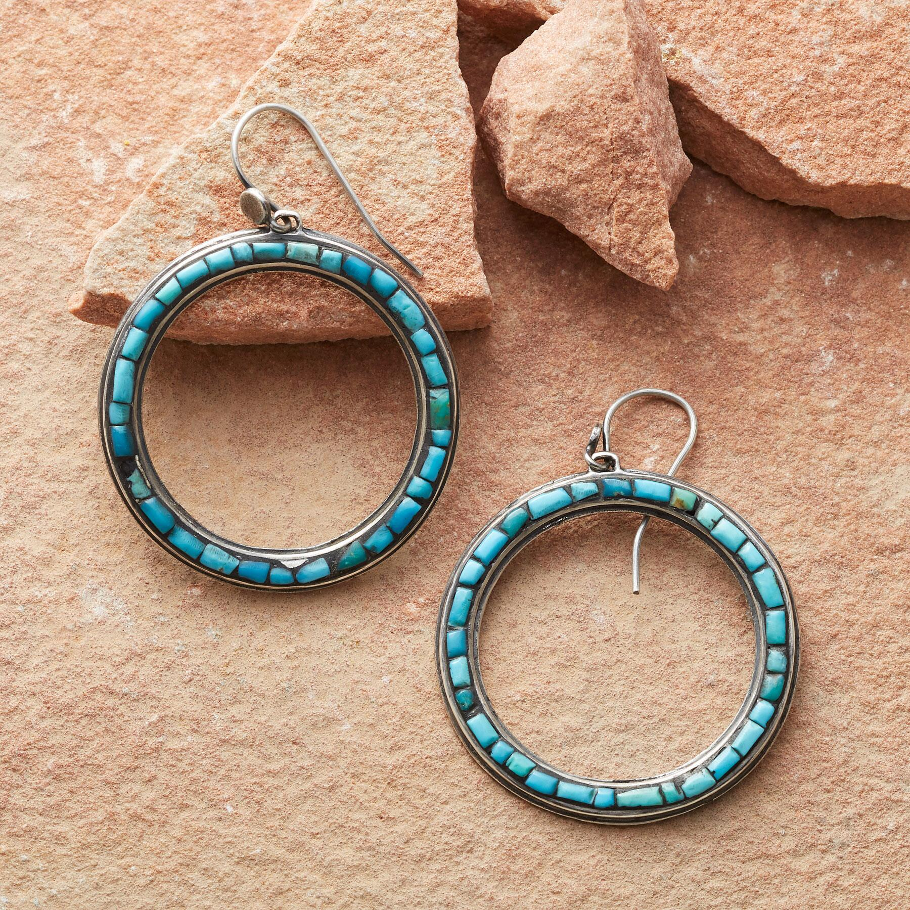 SPECTRUM TURQUOISE HOOP EARRINGS: View 1