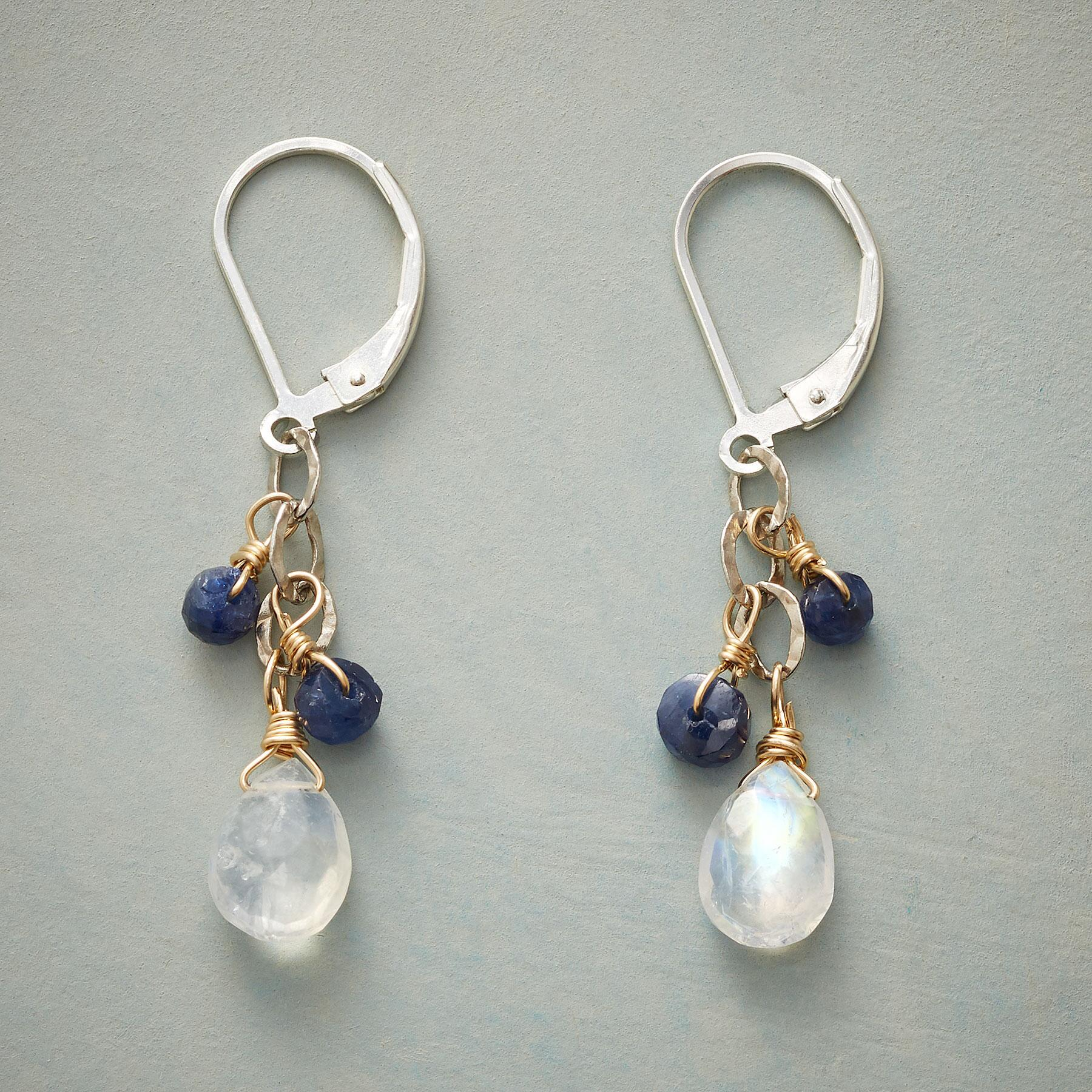 MOONSTONE & BLUE STONE EARRINGS: View 1