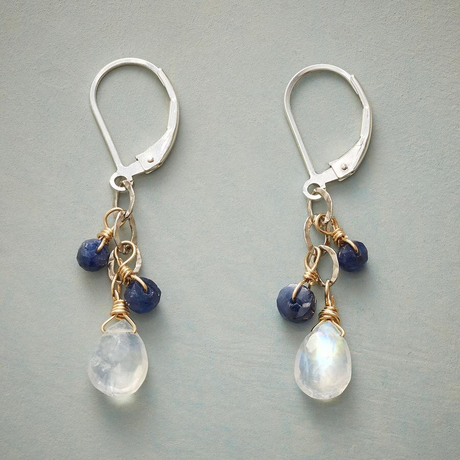 MOONSTONE & BLUE STONE EARRINGS