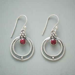 RINGED RUBY EARRINGS