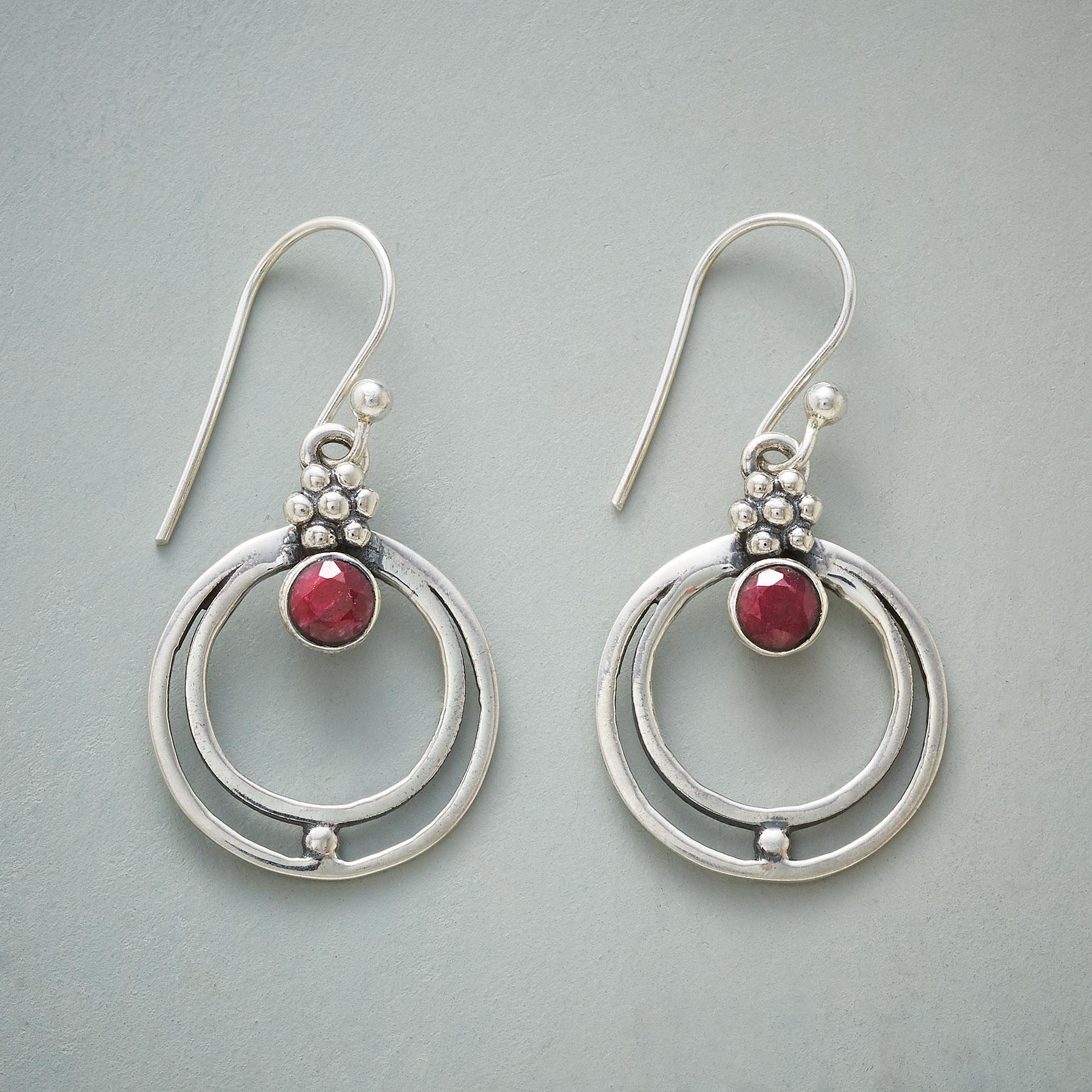RINGED RUBY EARRINGS: View 1