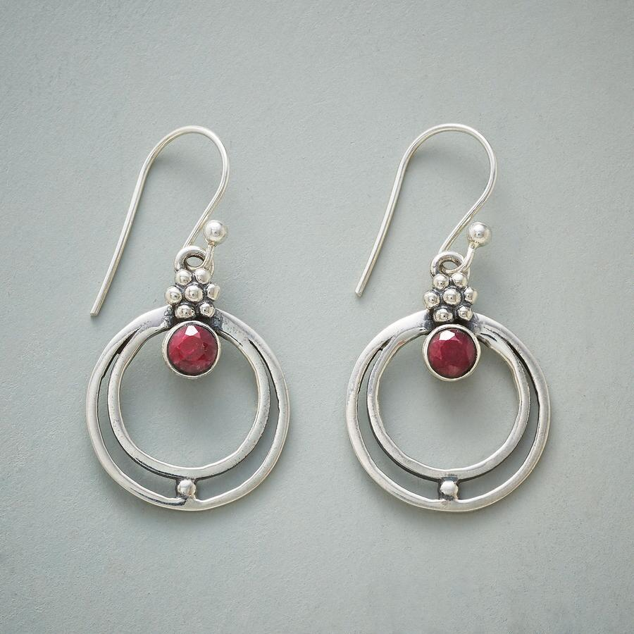 RINGED RUBY EARRINGS