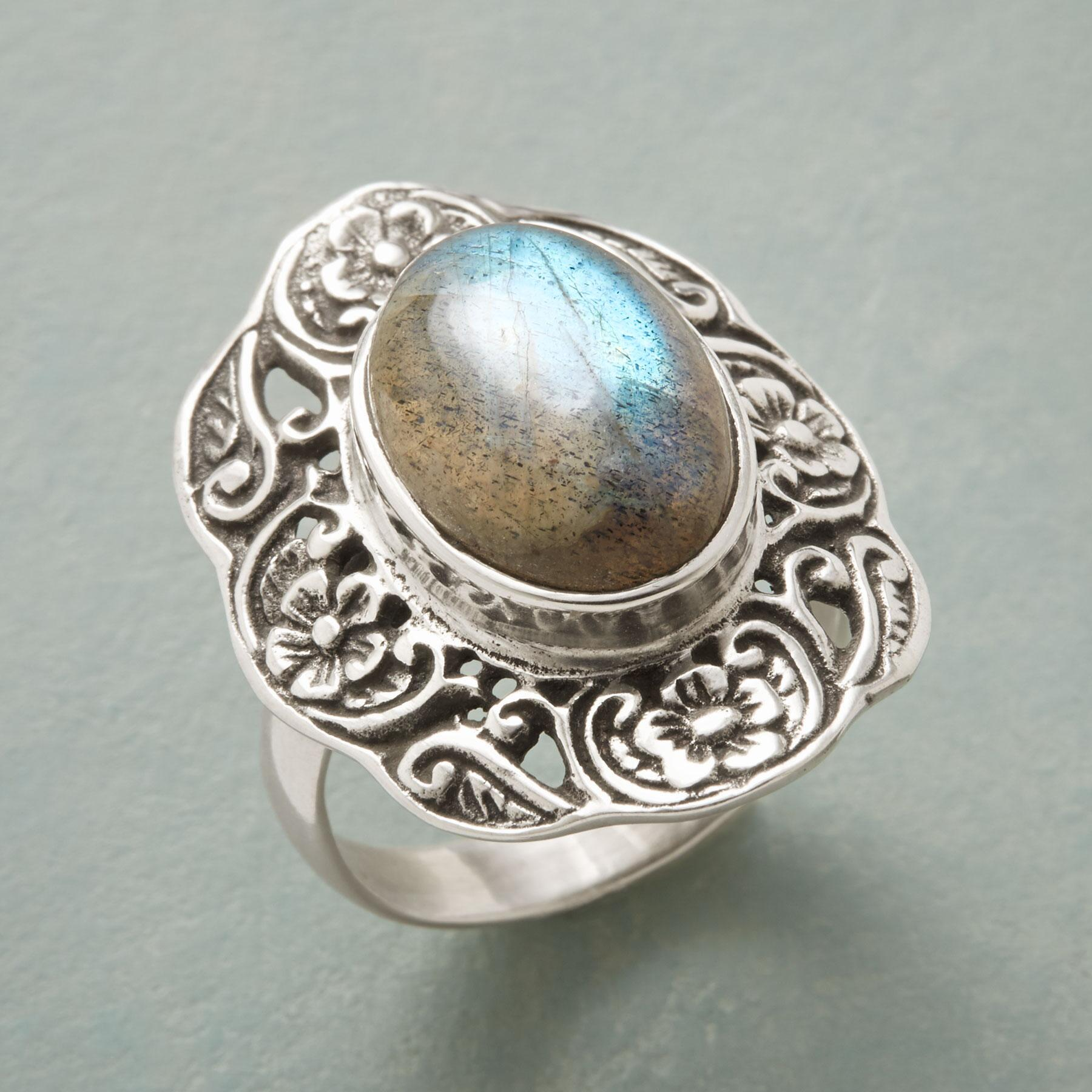RIMMED LABRADORITE RING: View 1
