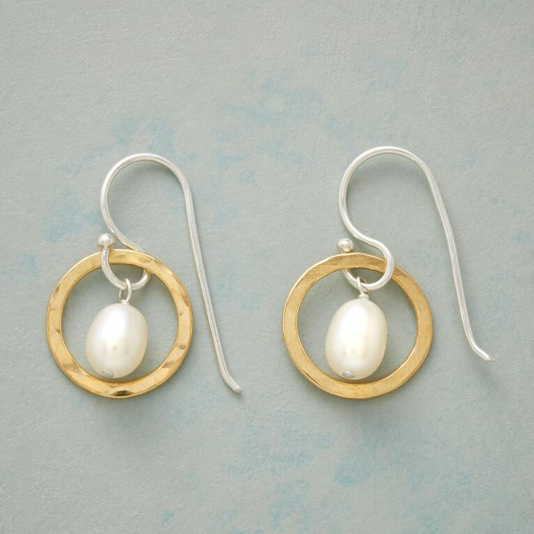 THROUGH HOOPS PEARL EARRINGS