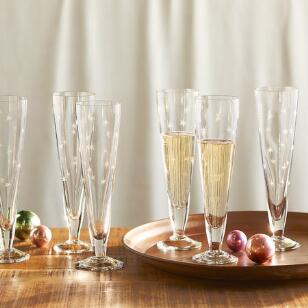 STARBURST CHAMPAGNE FLUTES, SET OF 6