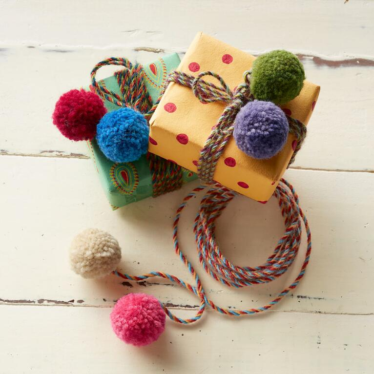 PLAYFUL POMPOM TIES, SET OF 3