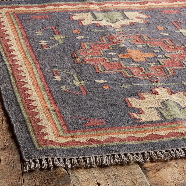 Persimmon Medallion Dhurrie Rug View 2