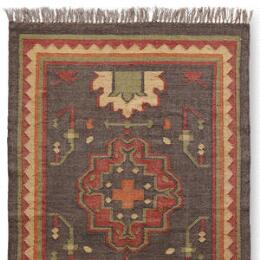 PERSIMMON MEDALLION DHURRIE RUG, LARGE