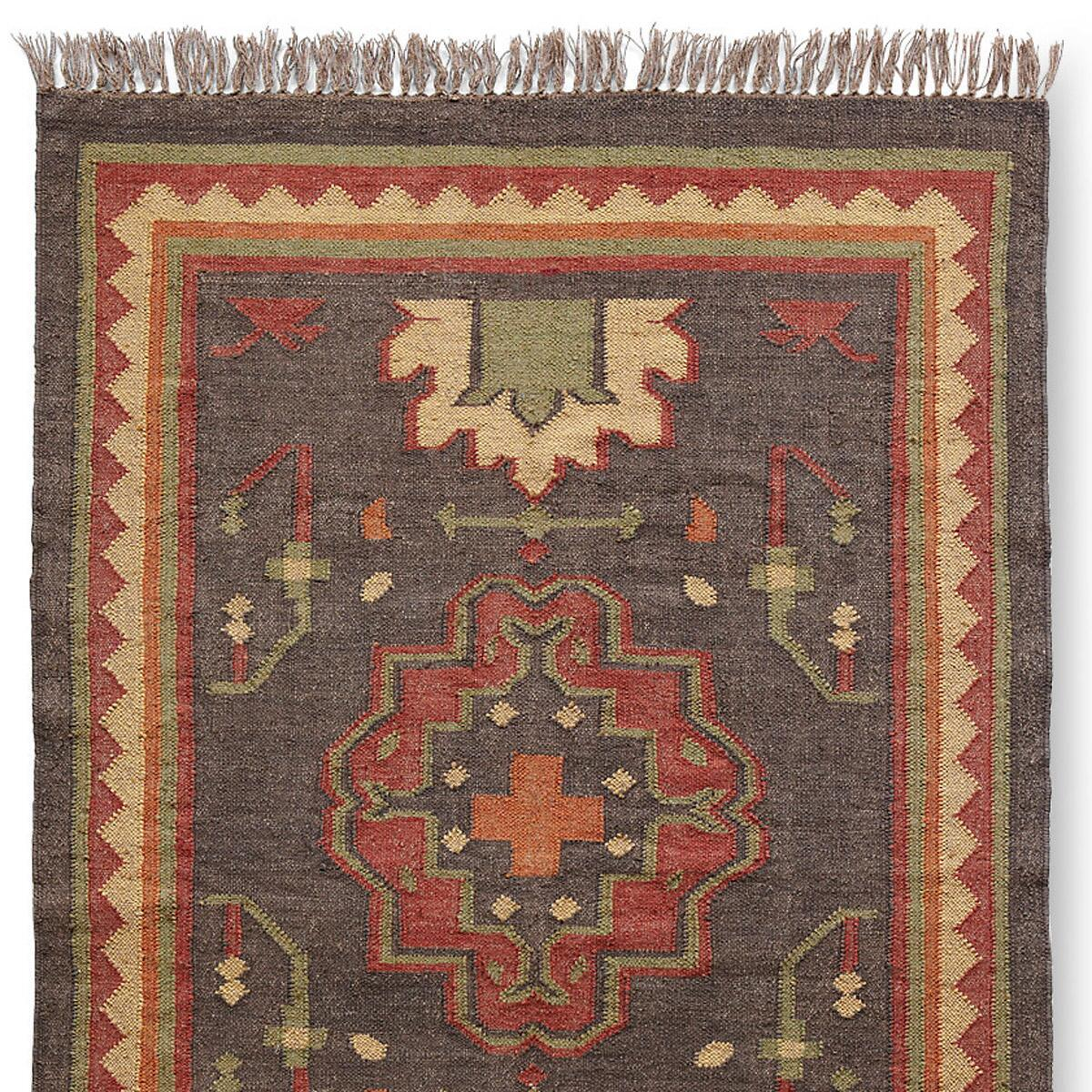PERSIMMON MEDALLION DHURRIE RUG, LARGE: View 1