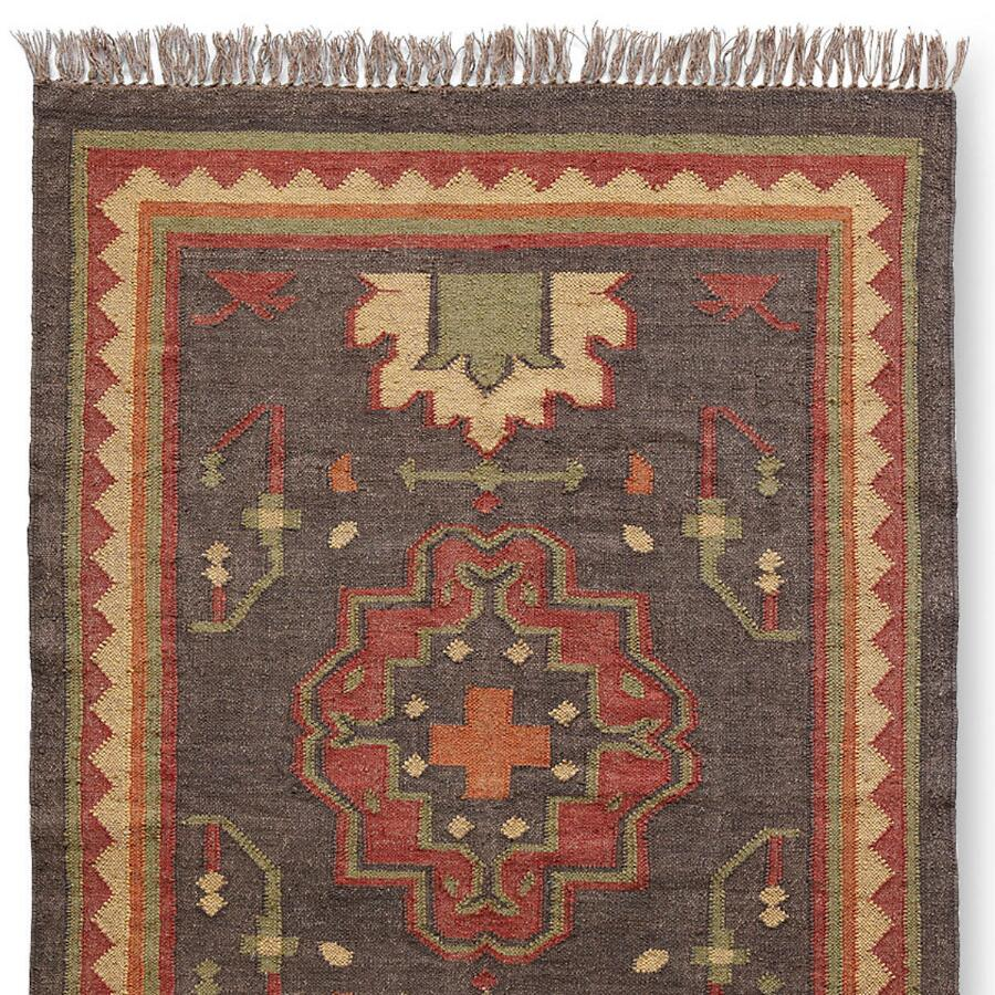 Persimmon Medallion Dhurrie Rug Large