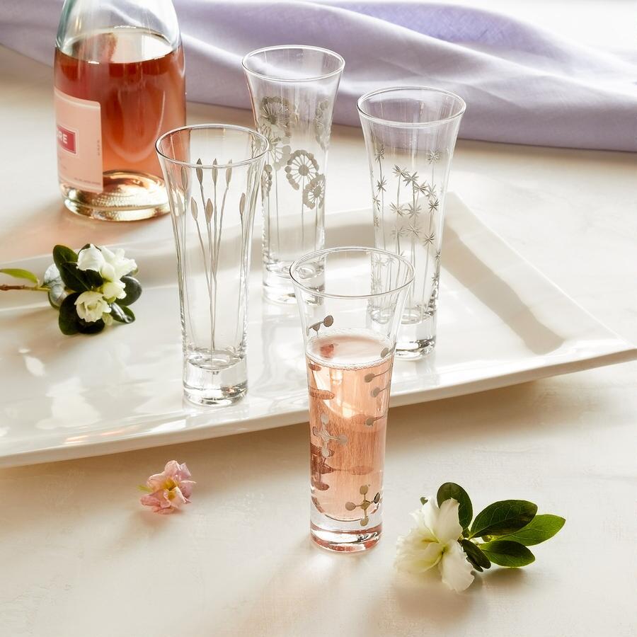 FESTIVE CHAMPAGNE GLASSES, SET OF 4
