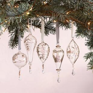 BRILLIANT GLASS ORNAMENTS, SET OF 5