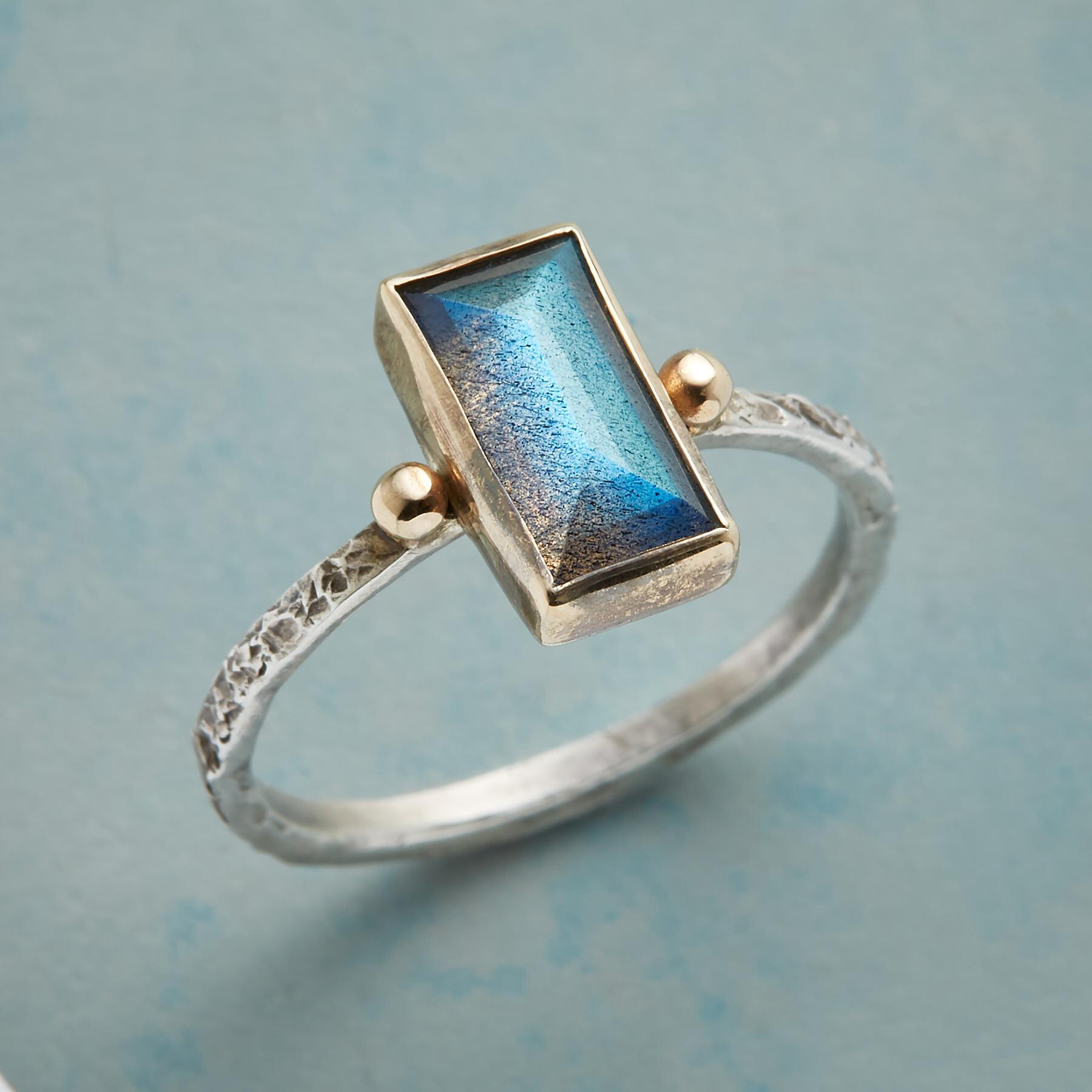 TWO DOT LABRADORITE RING: View 1