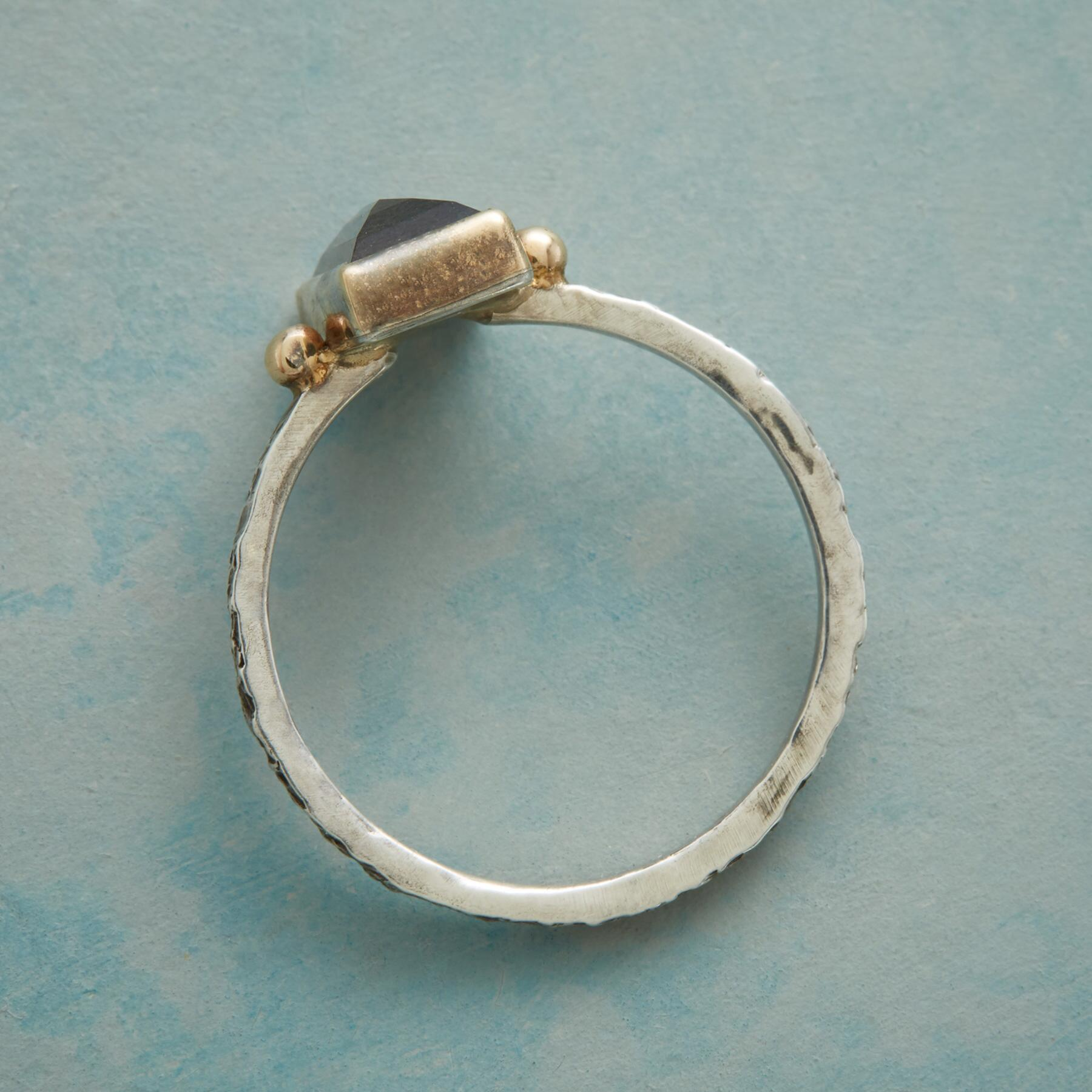 TWO DOT LABRADORITE RING: View 2