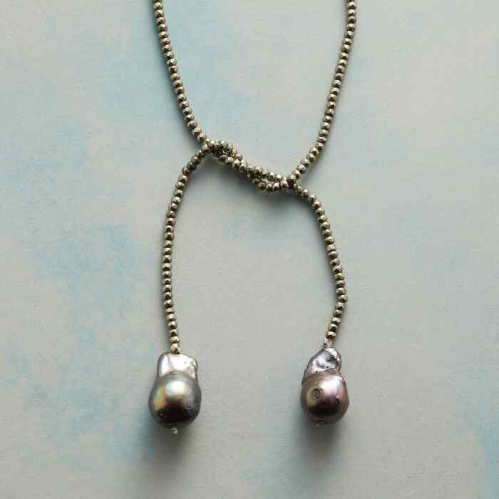 PYRITE AND PEARL LARIAT NECKLACE