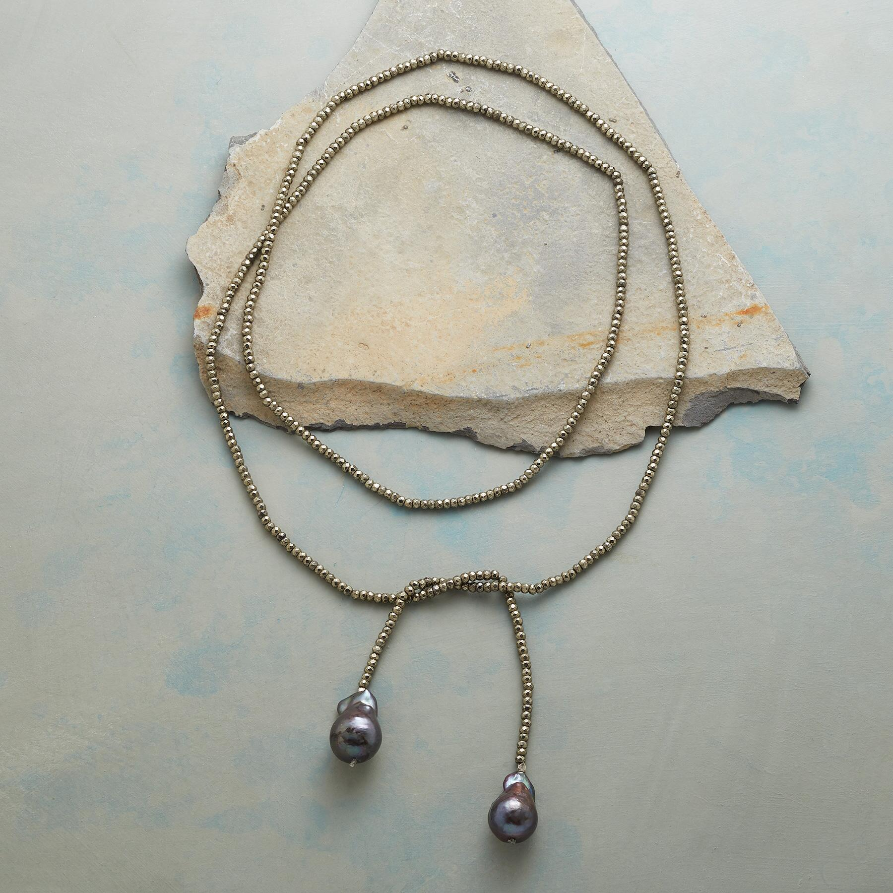PYRITE AND PEARL LARIAT NECKLACE: View 2