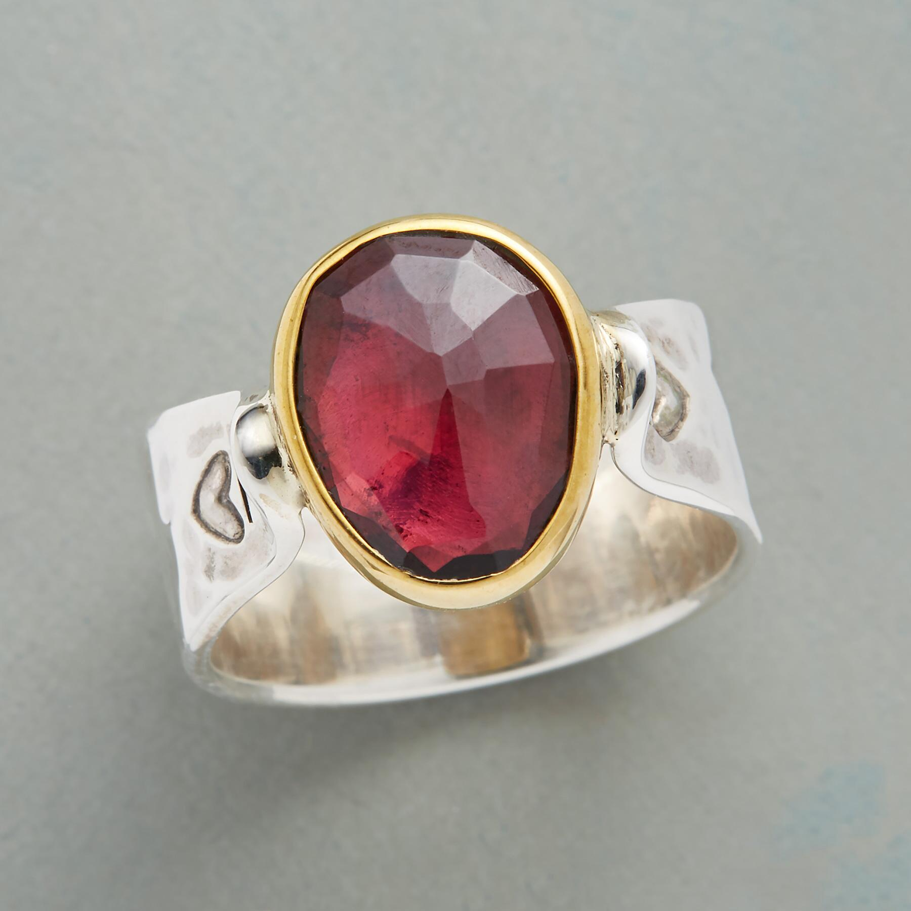 SACRED HEART GARNET RING: View 1
