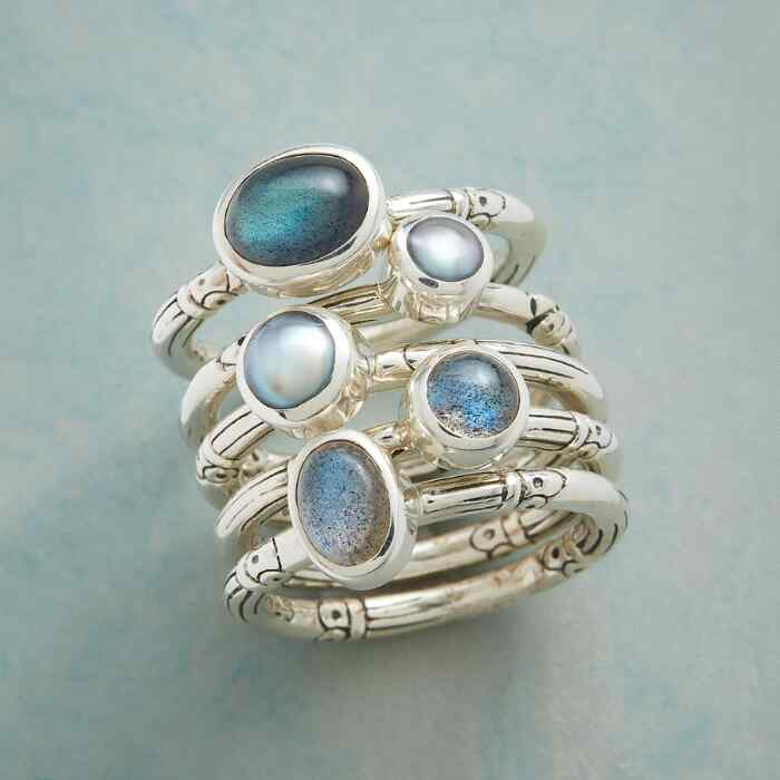 LABRADORITE AND PEARL RING SET S/5