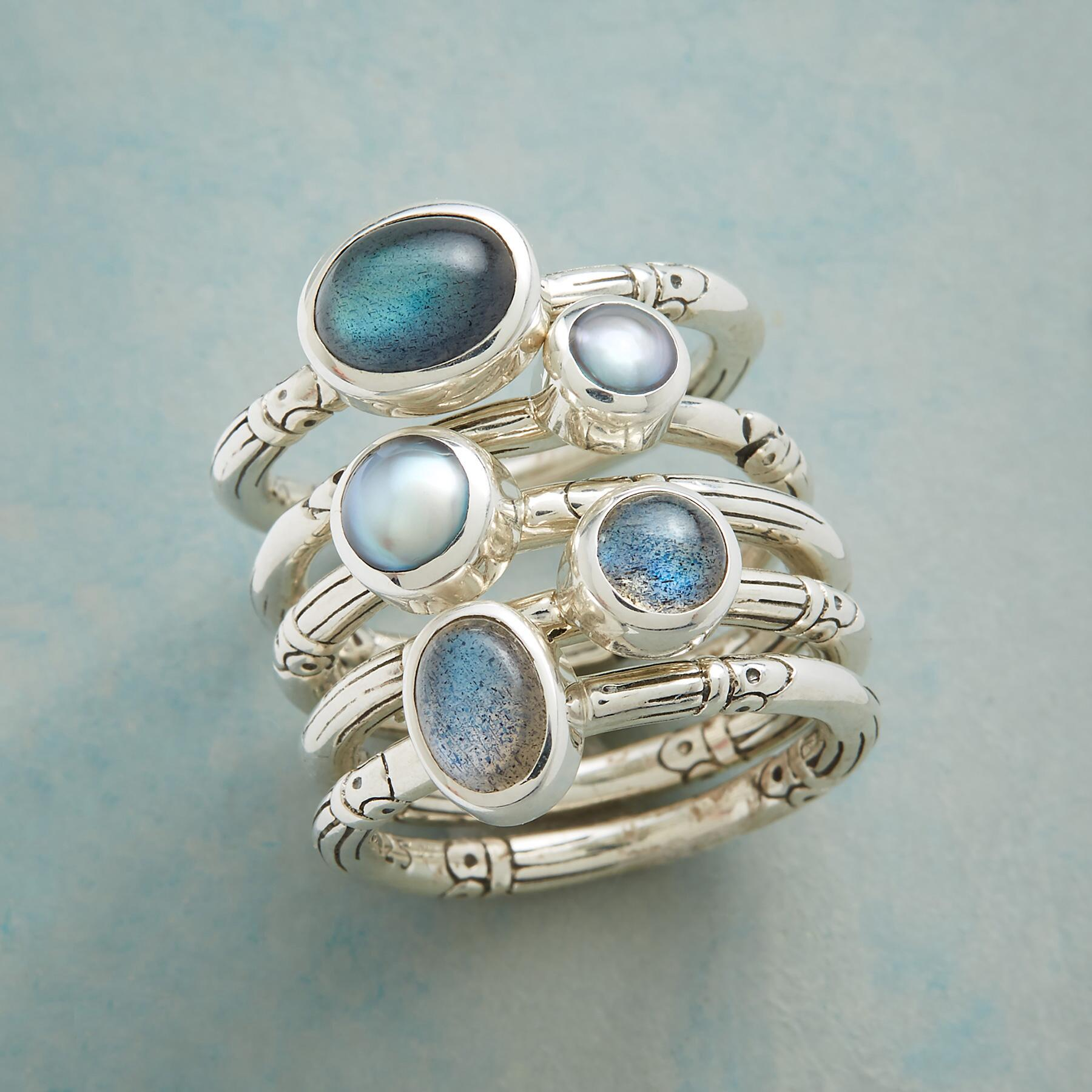 LABRADORITE AND PEARL RING SET: View 1