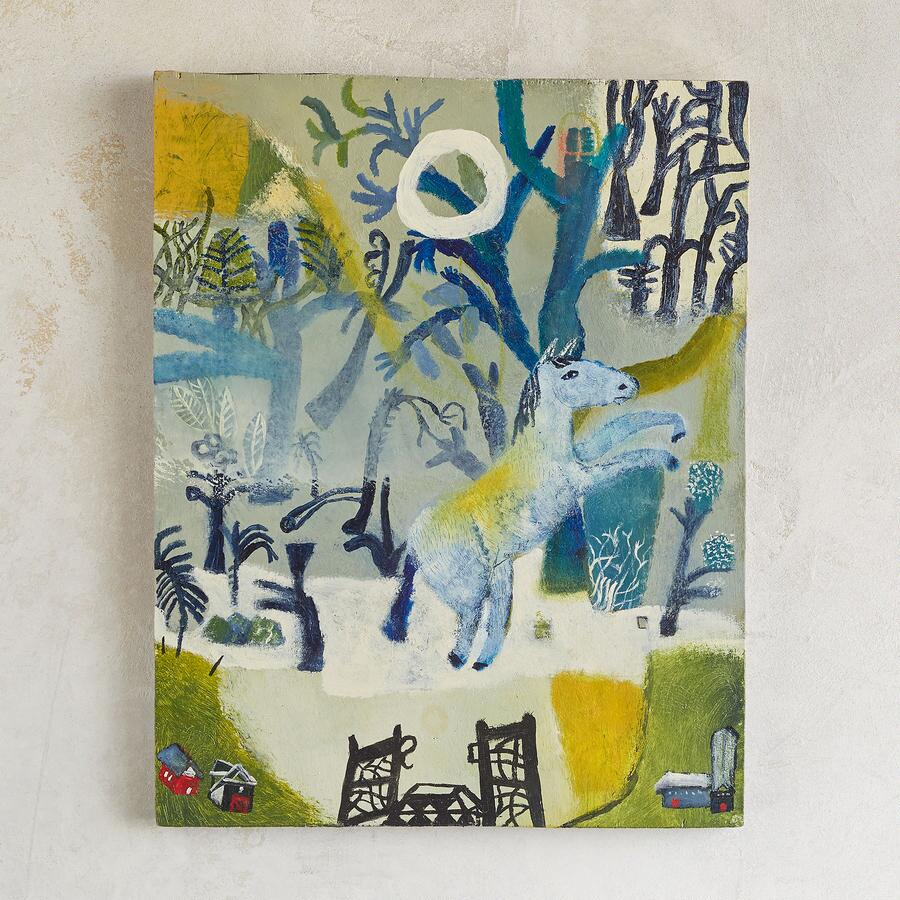 BLUE FOREST BLUE HORSE PAINTING