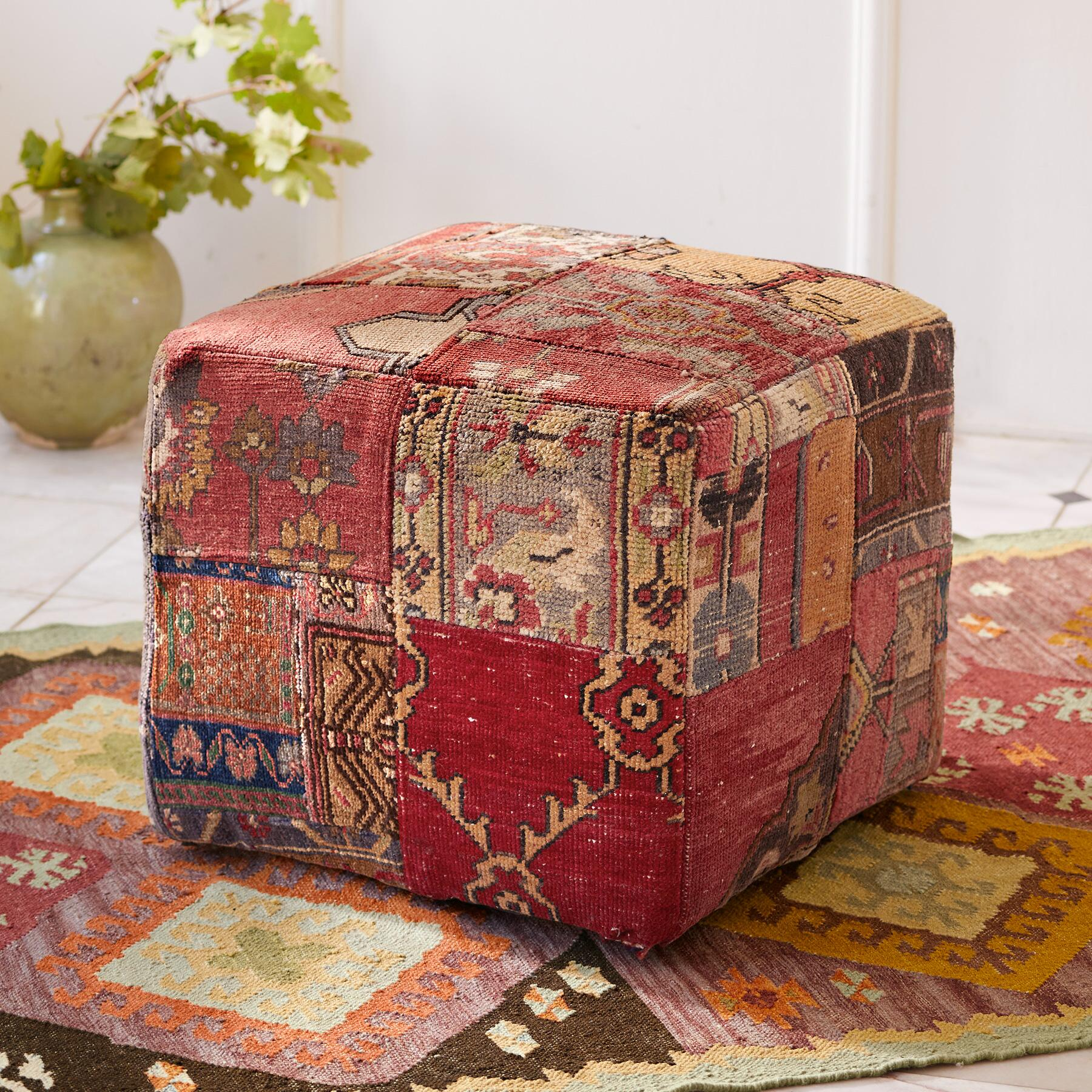 VINTAGE AMARNA PATCHWORK SMALL OTTOMAN: View 1