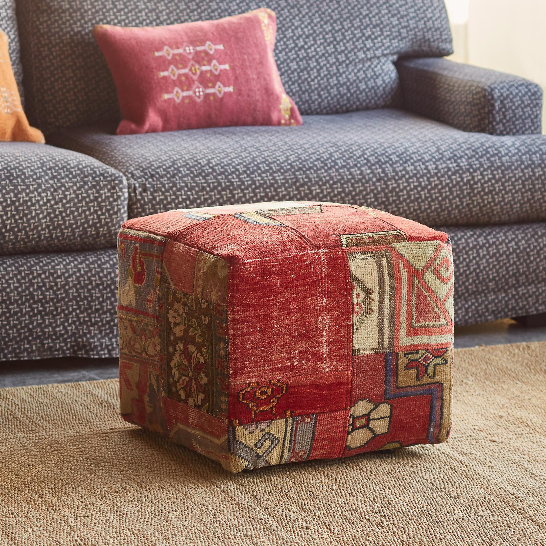 VINTAGE AMARNA PATCHWORK SMALL OTTOMAN: View 2