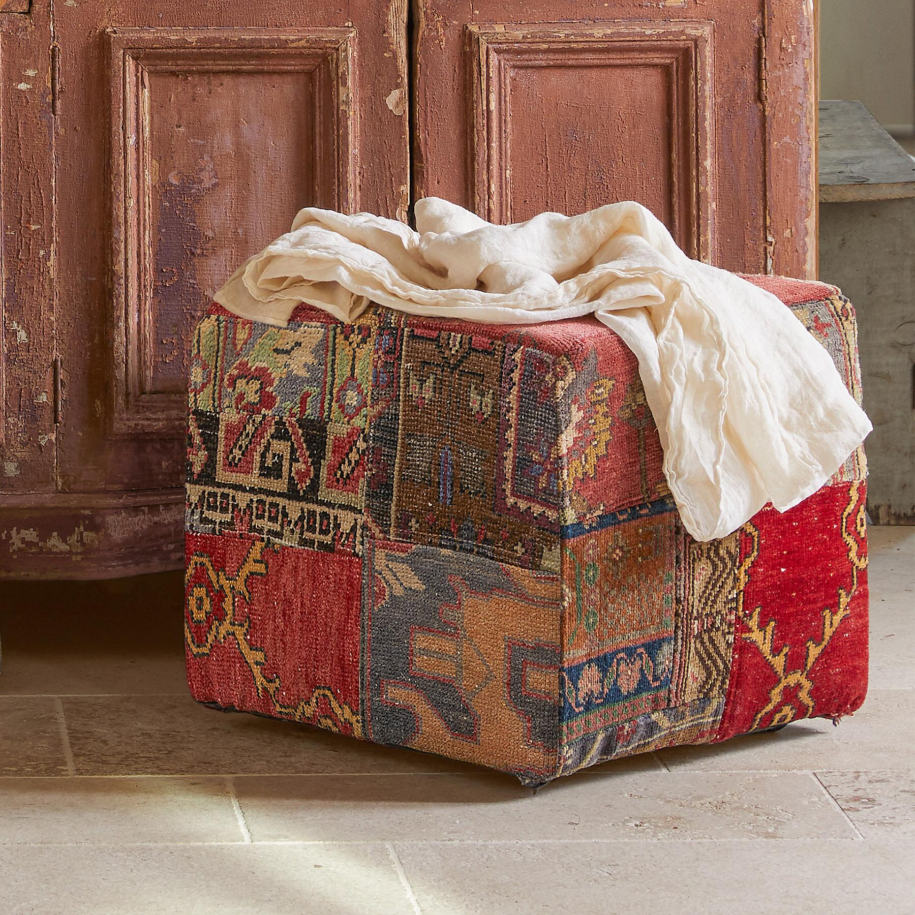 VINTAGE AMARNA PATCHWORK SMALL OTTOMAN: View 3