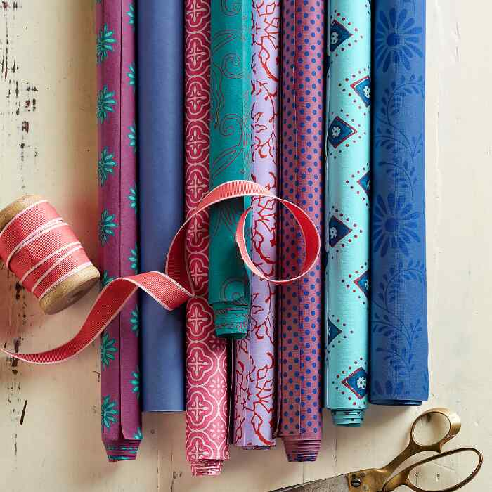 FESTIVE MELANGE WRAPPING PAPER, SET OF 8