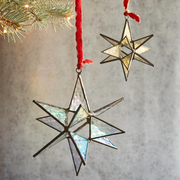 GLASS STAR ORN - LG