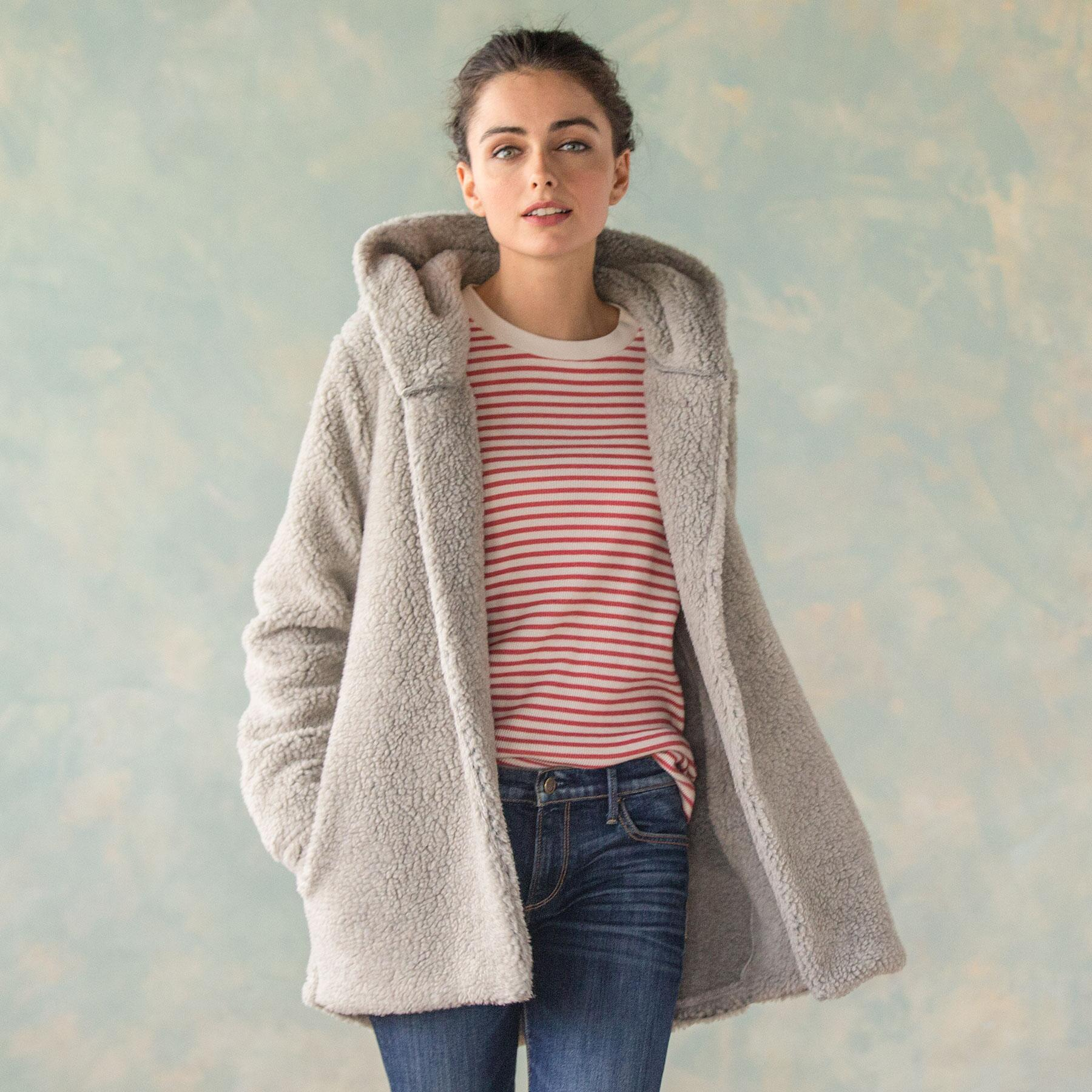 LUXE PILE HOODED JACKET: View 1