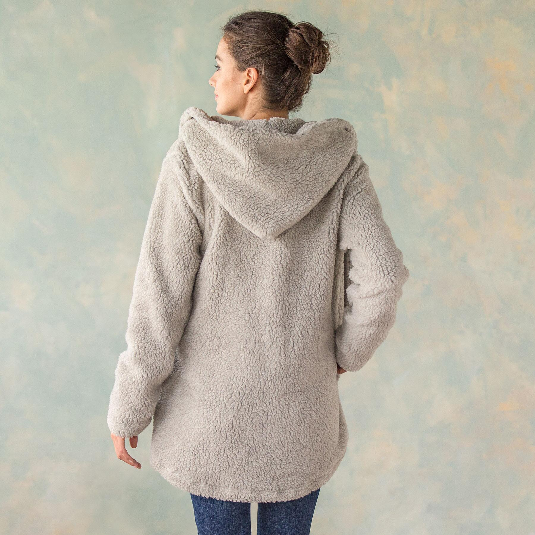 LUXE PILE HOODED JACKET: View 3