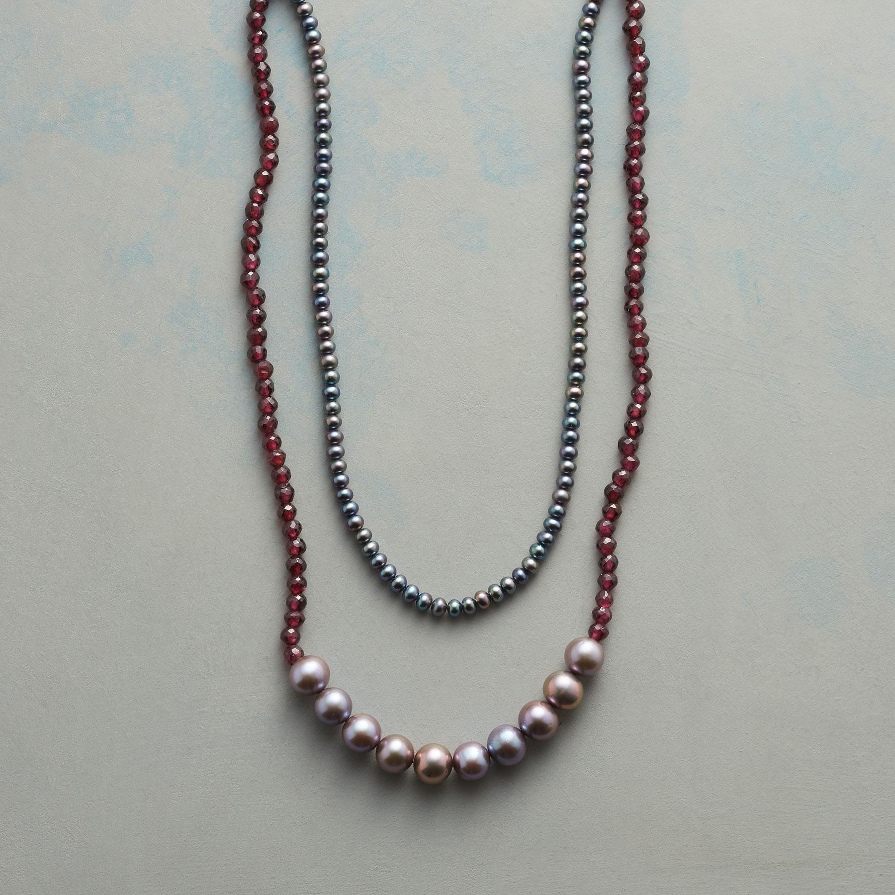 GRAY AND GARNET NECKLACE: View 1