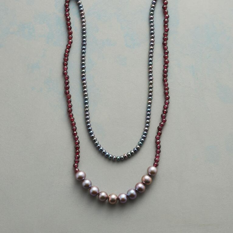 GRAY AND GARNET NECKLACE