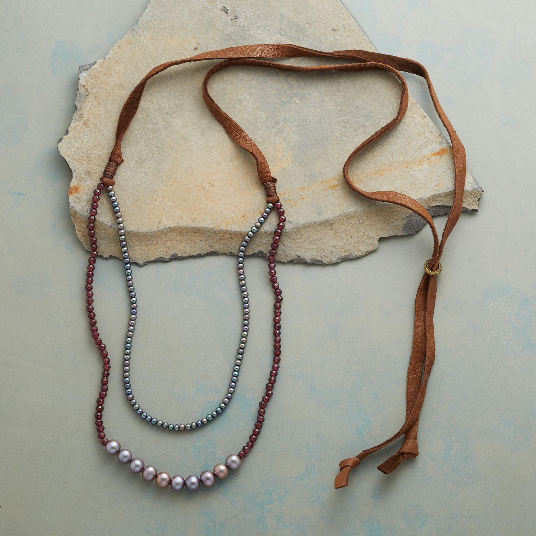 GRAY AND GARNET NECKLACE: View 2