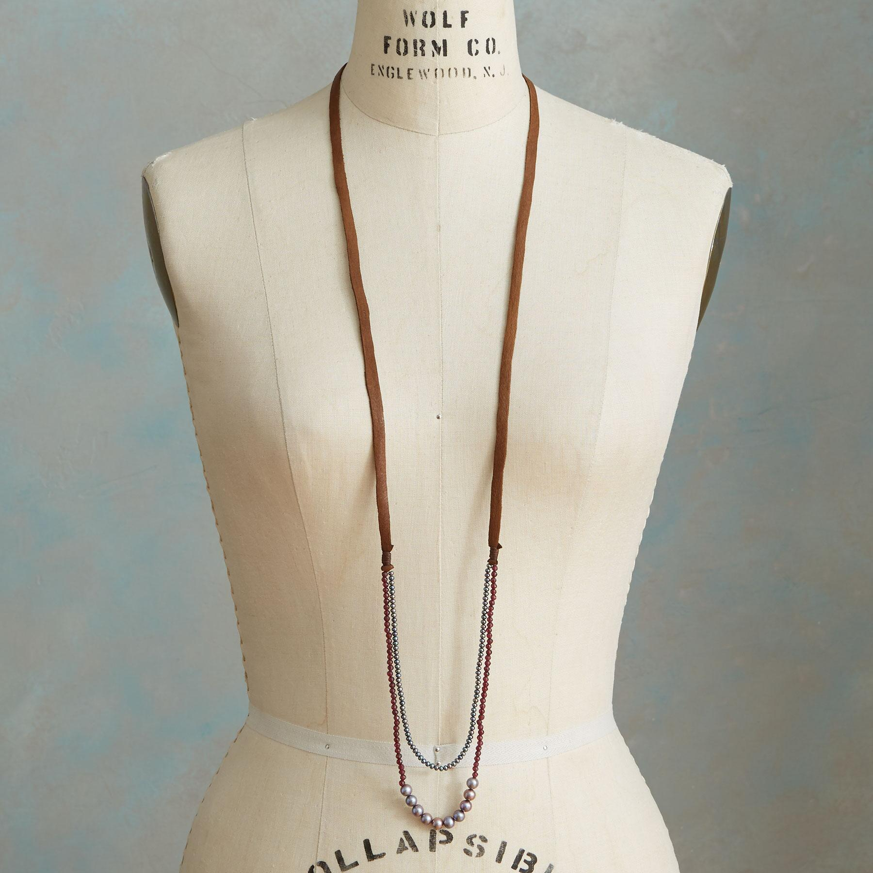 GRAY AND GARNET NECKLACE: View 4