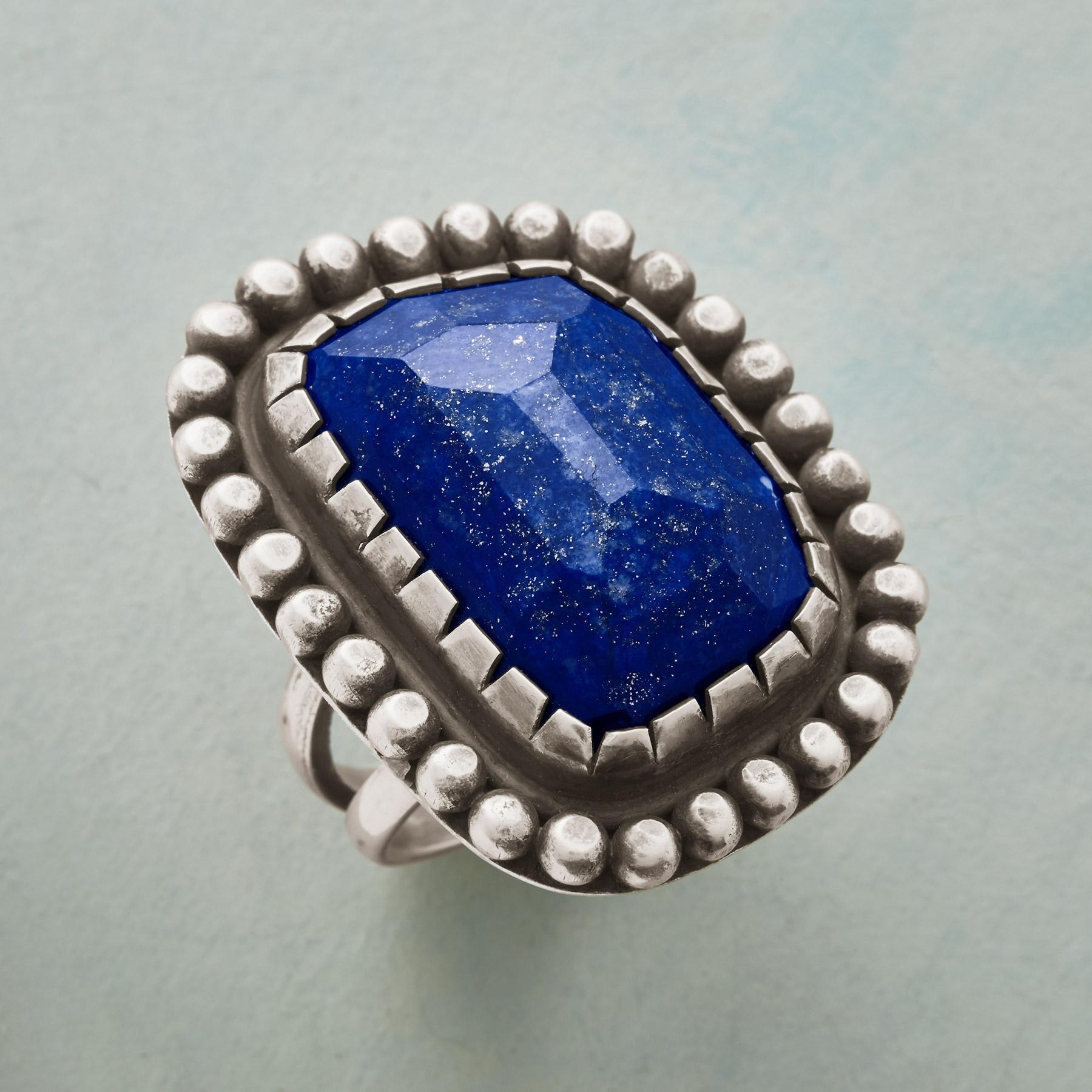 BOLD AND BEADED LAPIS RING: View 1