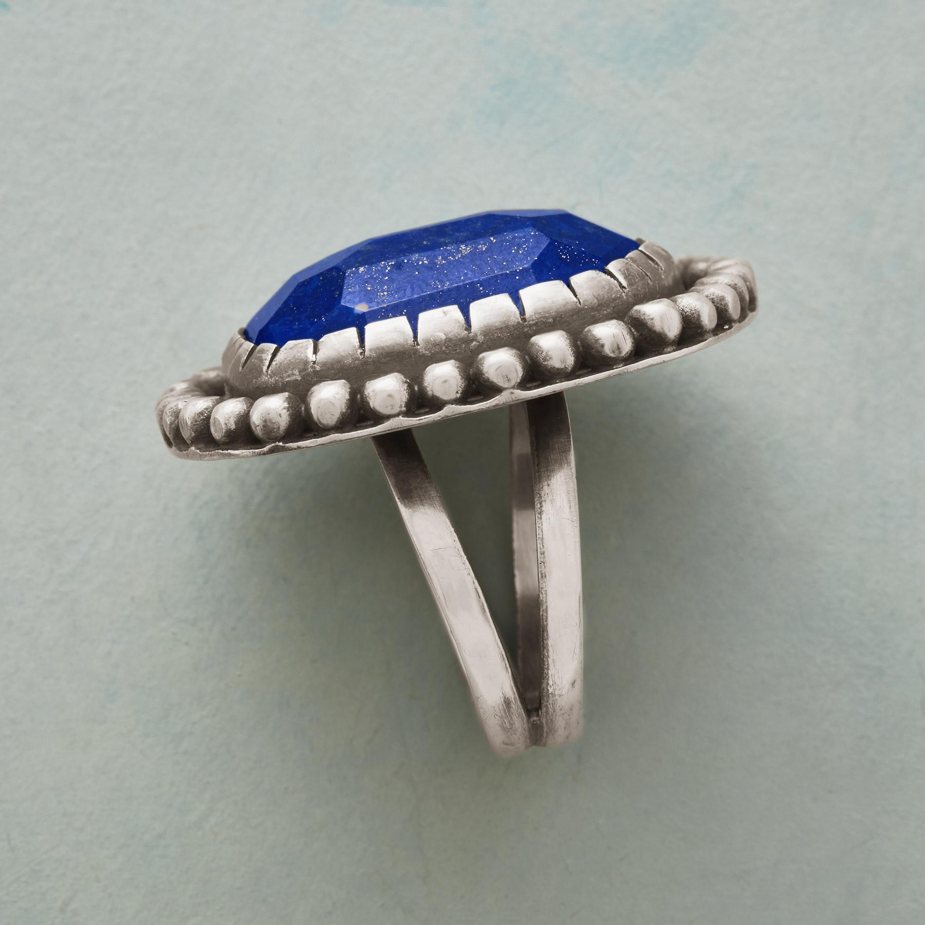 BOLD AND BEADED LAPIS RING: View 3