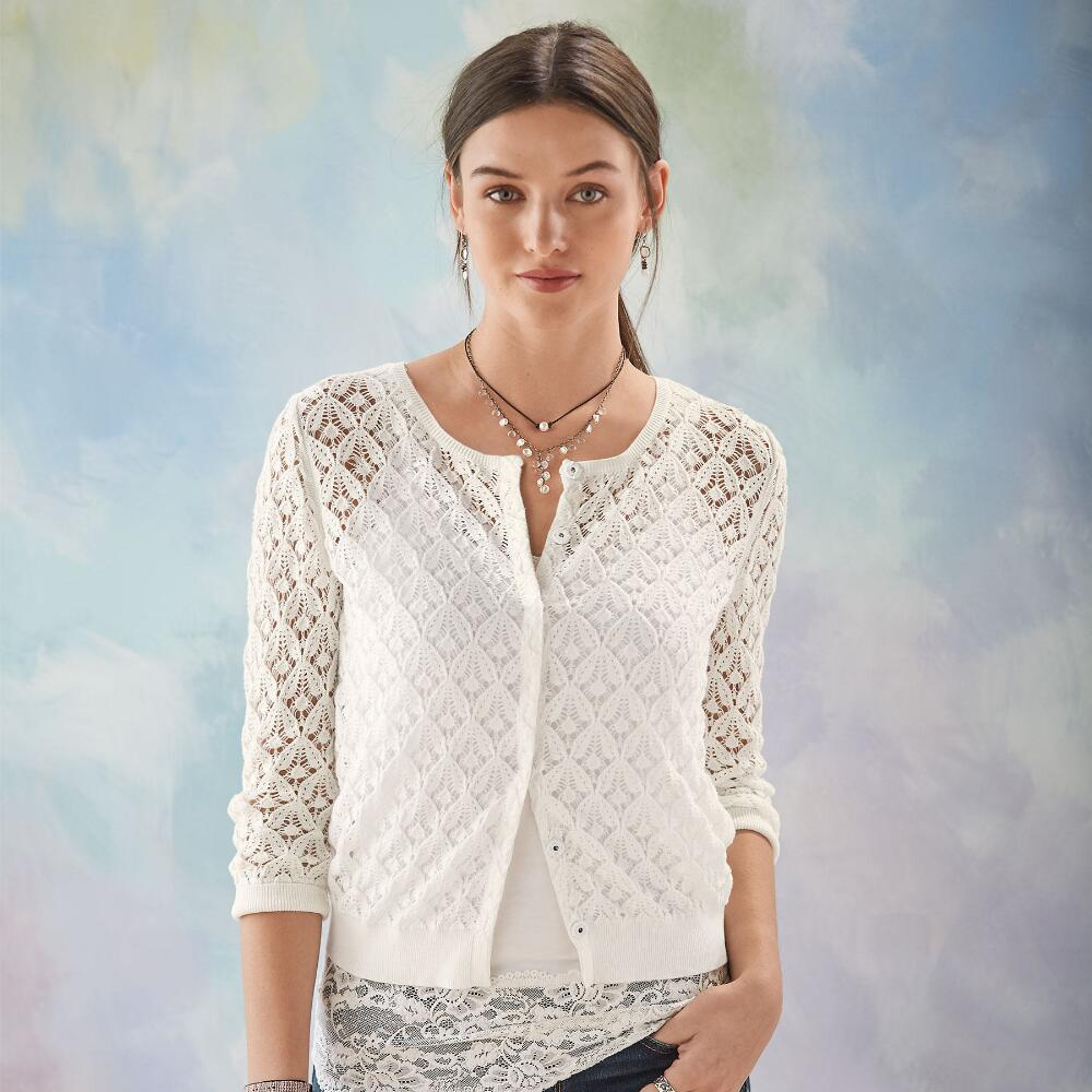 alabaster pointelle cardigan