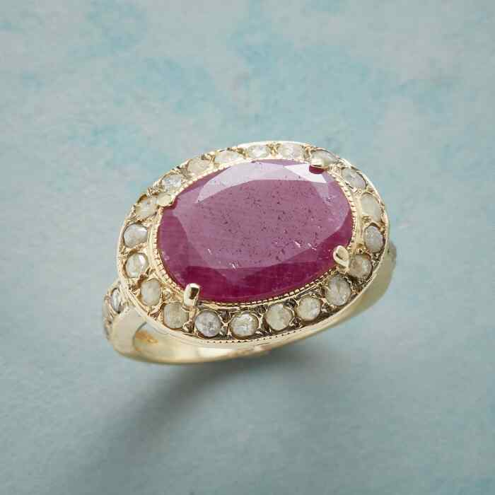 DIAMOND DUSTED RUBY RING