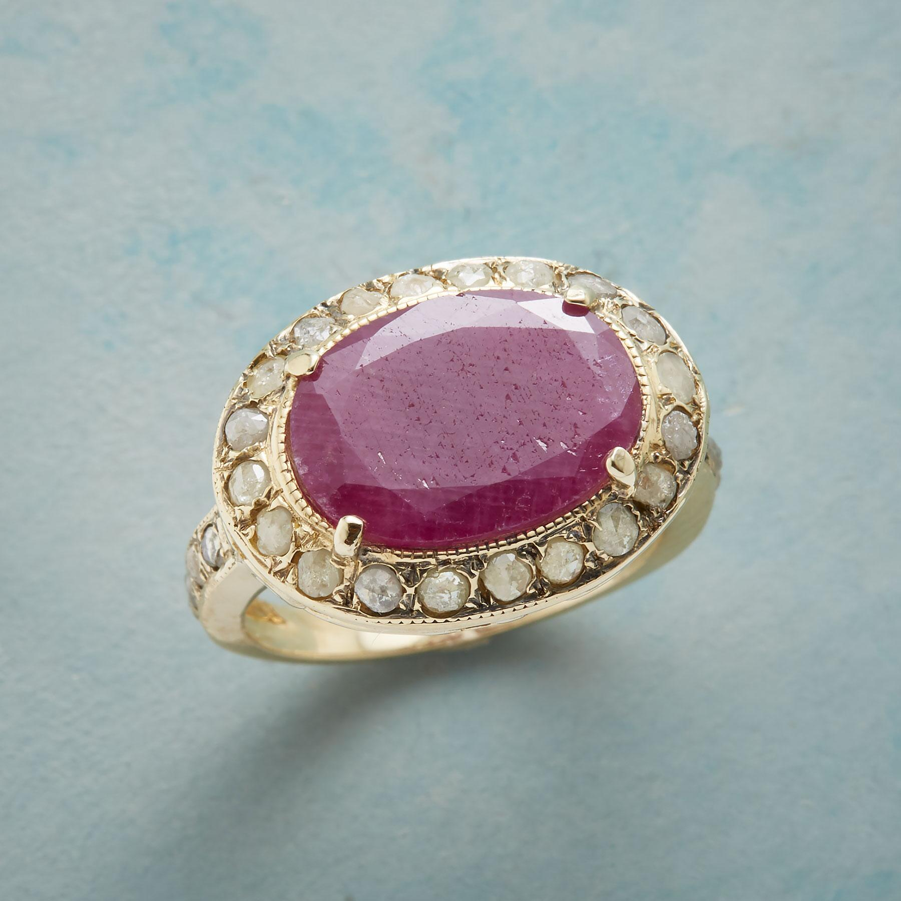 DIAMOND DUSTED RUBY RING: View 1