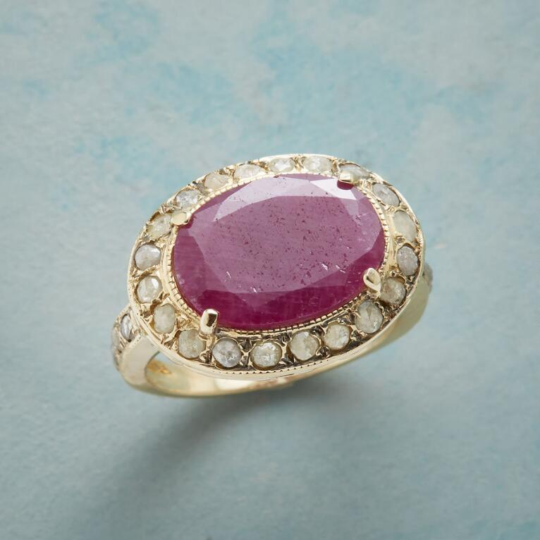 DIAMOND-DUSTED RUBY RING