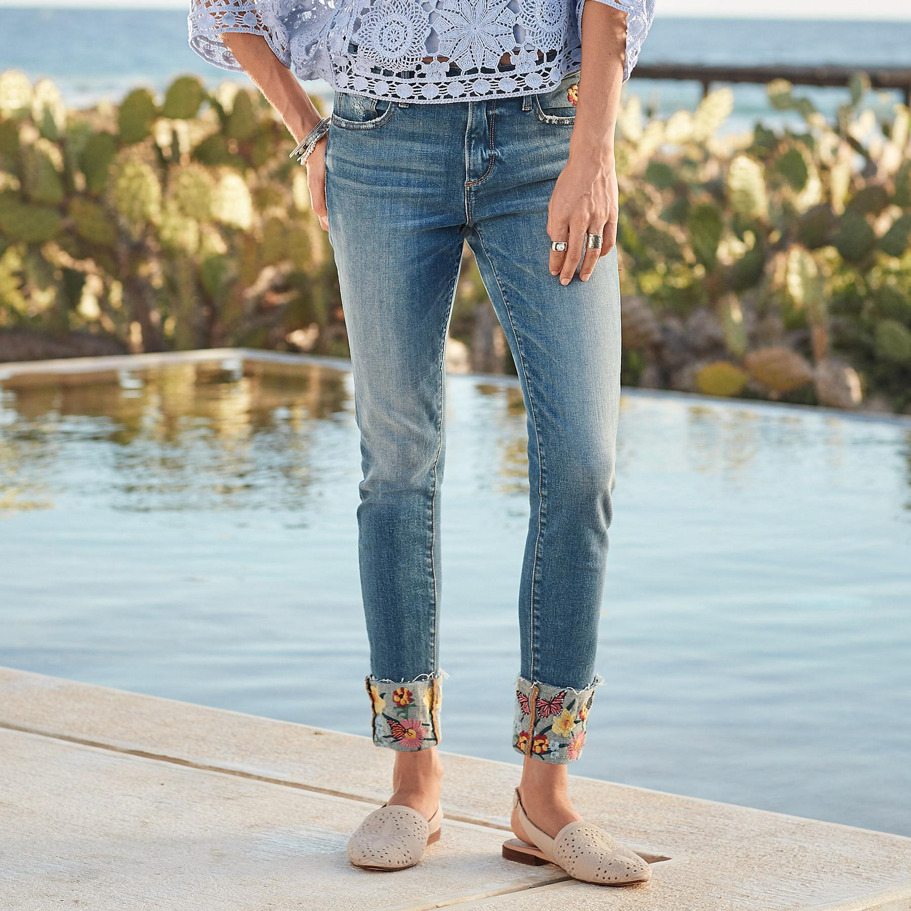 COLETTE FLOWER CUFF JEANS: View 1