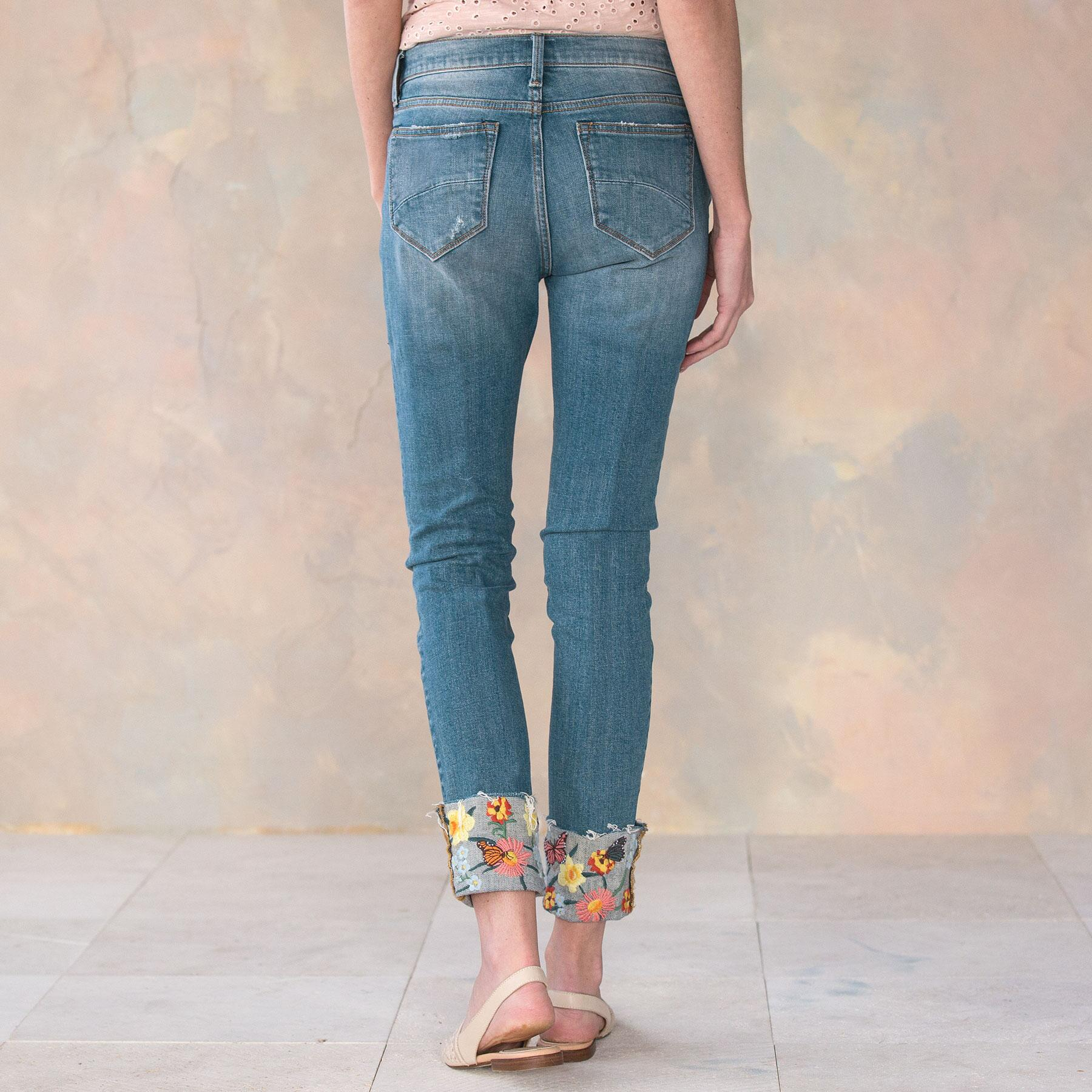 COLETTE FLOWER CUFF JEANS: View 2