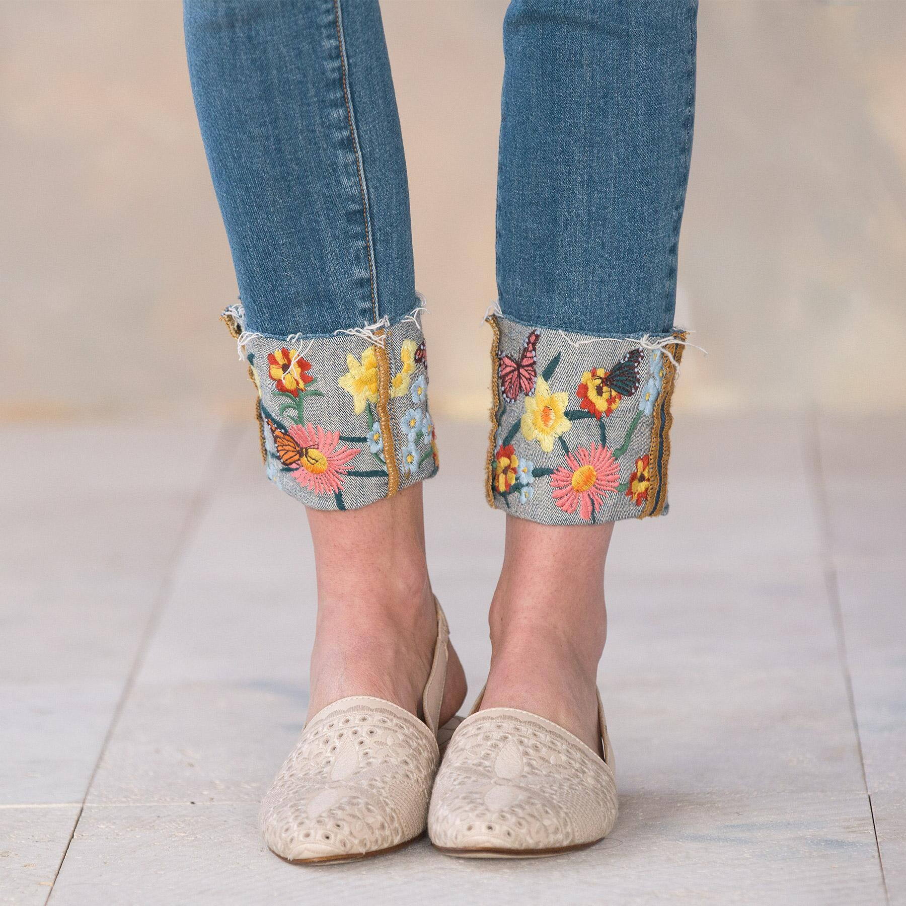COLETTE FLOWER CUFF JEANS: View 4